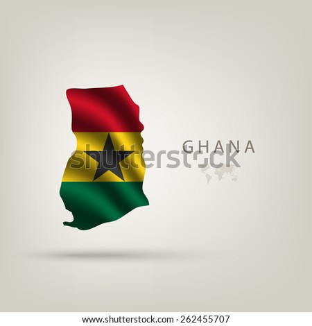 Flag of GHANA as a country with shadow - stock vector