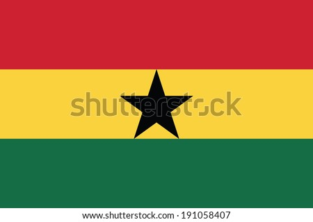 Flag of Ghana. Vector. Accurate dimensions, element proportions and colors. - stock vector