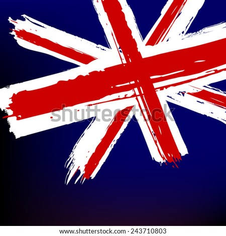 Flag of Great Britain in the painterly style the grunge - vector - stock vector