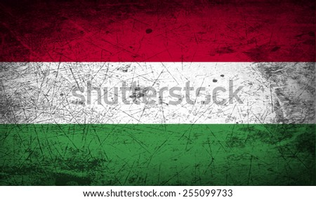 Flag of Hungary with old texture. Vector illustration - stock vector