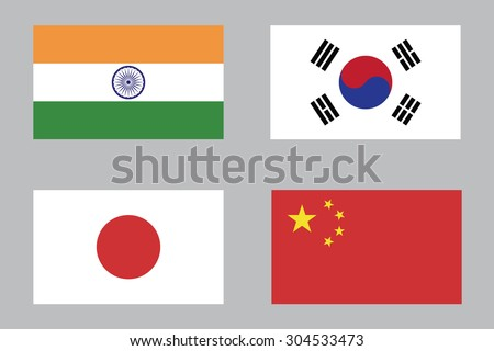 Flag of India , South Korea , Japan and China - stock vector