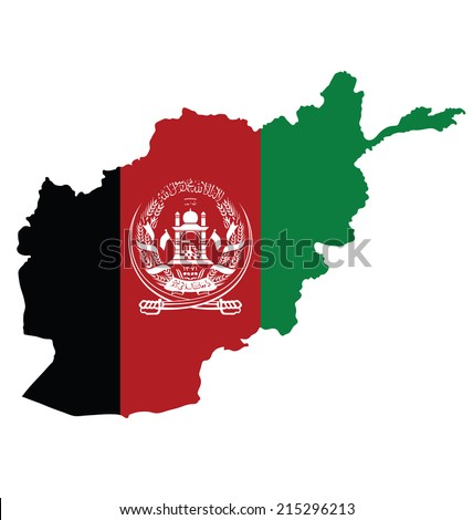 Flag of Islamic Republic of Afghanistan overlaid on outline map isolated on white background - stock vector