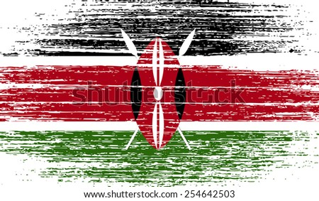Flag of Kenya with old texture. Vector illustration - stock vector