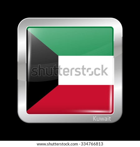 Flag of Kuwait. Metallic Icon Square Shape. This is File from the Collection Flags of Asia - stock vector