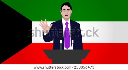 Flag of Kuwait. Political speech speaker. Orator speaks with a vigorous speech at the podium with a microphone. Image. National Day of Kuwait, Kuwait Liberation Day Vector. Icon. - stock vector