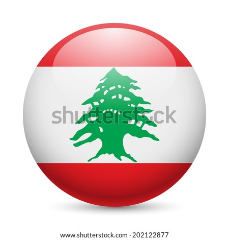 Flag of Lebanese Republic as round glossy icon. Button with flag design - stock vector