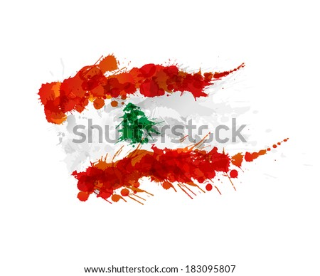 Flag of Lebanon made of colorful splashes - stock vector