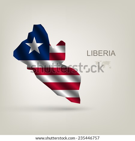 flag of Liberia as the country with the shadow - stock vector