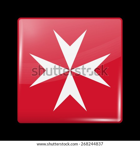 Flag of Malta. Glossy Icons Square Shape. This is File from the Collection European Flags - stock vector