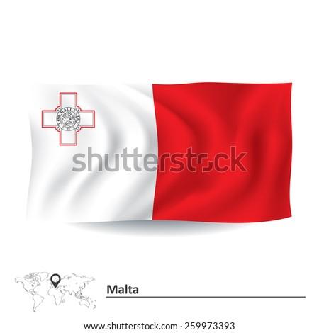 Flag of Malta - vector illustration - stock vector