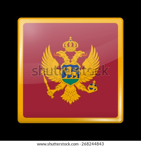 Flag of Montenegro. Glossy Icons Square Shape. This is File from the Collection European Flags - stock vector