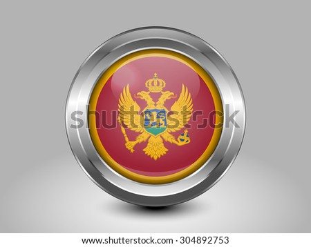 Flag of Montenegro. Metal Round Icons. This is File from the Collection European Flags - stock vector