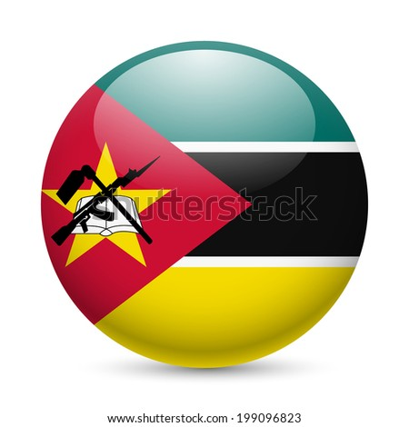 Flag of Mozambique as round glossy icon. Button with Mozambican flag - stock vector