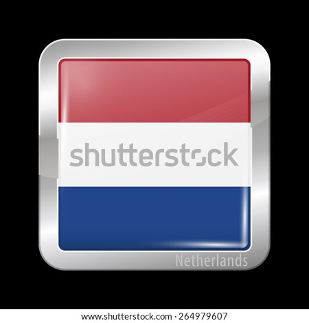 Flag of Netherlands. Metal Icons Square Shape. This is File from the Collection European Flags - stock vector
