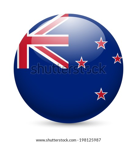 Flag of New Zealand as round glossy icon. Button with flag colors - stock vector