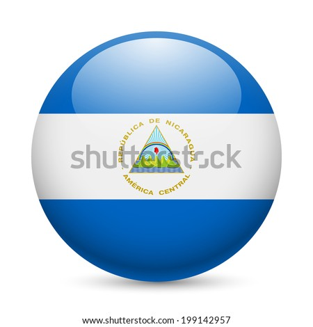 Flag of Nicaragua as round glossy icon. Button with Nicaraguan flag - stock vector