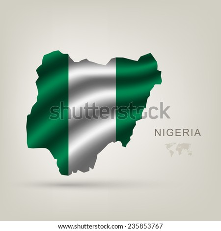 flag of Nigeria as the country with the shadow - stock vector