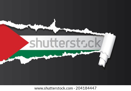 Flag of Palestine under ripped paper vector illustration. - stock vector