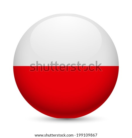 Flag of Poland as round glossy icon. Button with Polish flag - stock vector