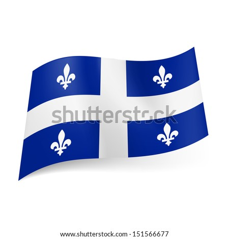 Flag of Quebec, province of Canada: central white cross and symmetric pattern of white fleurs-de-lis on blue background.  - stock vector