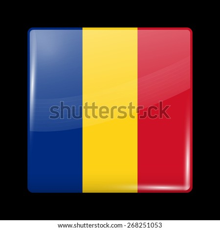 Flag of Romania. Glossy Icons Square Shape. This is File from the Collection European Flags - stock vector
