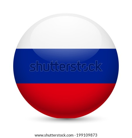 Flag of Russian Federation as round glossy icon. Button with Russian flag - stock vector