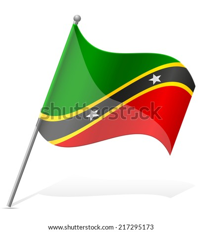 flag of Saint Kitts and Nevis vector illustration isolated on white background - stock vector