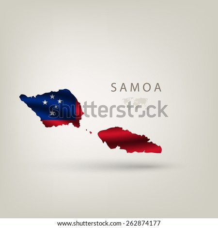 Flag of SAMOA as a country with  shadow - stock vector