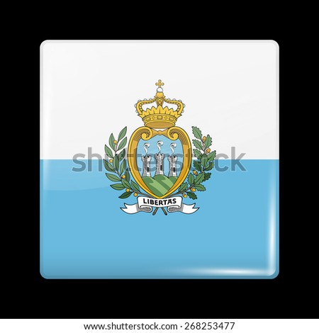 Flag of San Marino. Glossy Icons Square Shape. This is File from the Collection European Flags - stock vector