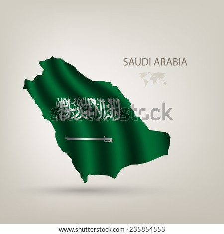 flag of Saudi Arabia as the country with the shadow - stock vector