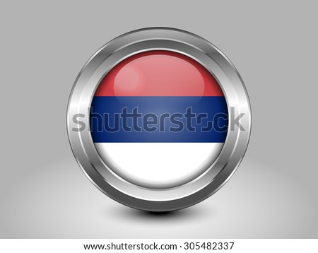 Flag of Serbia. Metal Round Icons. This is File from the Collection European Flags - stock vector