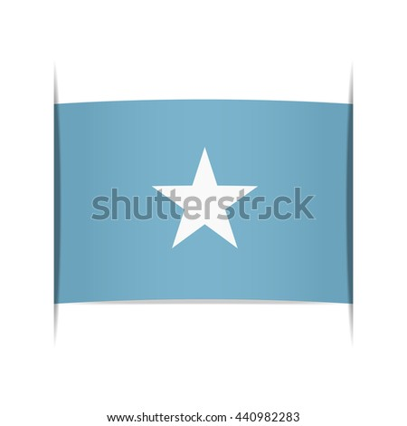Flag of Somalia, officially the Federal Republic of Somalia. Vector illustration of a stylized flag. The slit in the paper with shadows. Element for infographics. - stock vector