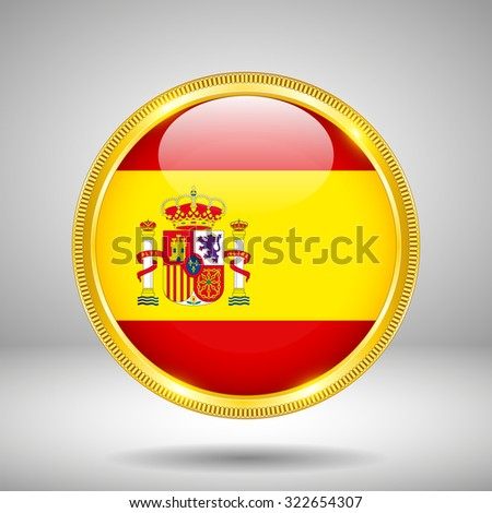 Flag of Spain in GOLD - stock vector