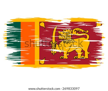 Flag of Sri Lanka. The national flag painted with a brush colored inks. Effects flag of the country. Background, grunge, paint, ink, color. Image. Vector. Icon.  - stock vector