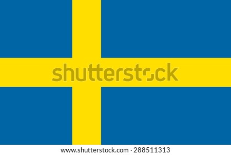 Flag of Sweden. Official state symbol of the country. Government specification: correct forms, colors and proportions. Blue rectangle with a yellow Scandinavian cross. - stock vector