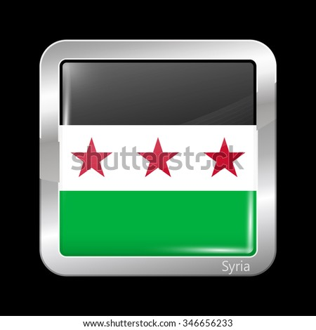 Flag of Syria. Metallic Icon Square Shape. This is File from the Collection Flags of Asia - stock vector
