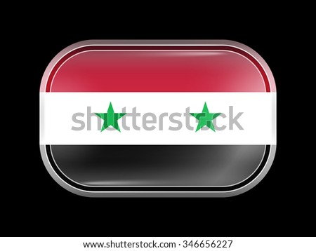 Flag of Syria. Rectangular Shape with Rounded Corners. This Flag is One of a Series of Glass Buttons - stock vector