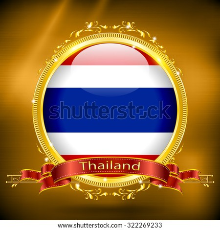 Flag of Thailand in GOLD - stock vector