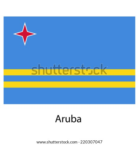 Flag  of the country  aruba. Vector illustration.  Exact colors.  - stock vector