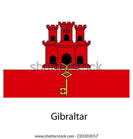 Flag  of the country  gibraltar. Vector illustration.  Exact colors.  - stock vector