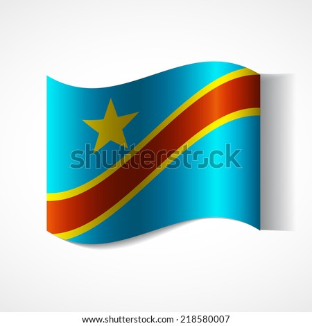 Flag of the country in waveform. Flag fluttering in the wind. Ribbon in the colors of the flag are twisted. Independence Day. Visit to the country and learn. News. Flag of Democratic Republic of Congo - stock vector