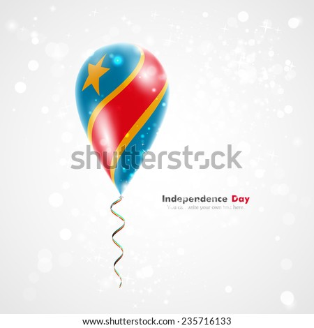 Flag of the country on balloon. Celebration and gifts. Ribbon in the colors of flag are twisted under balloon. Independence Day. Balloons on feast of national day. Flag of Democratic Republic of Congo - stock vector