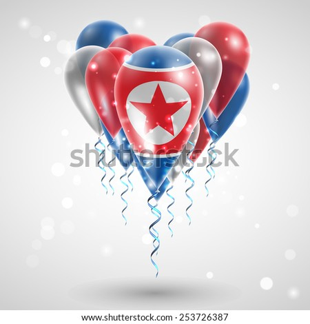 Flag of the Democratic People's Republic on air balls in heart-shaped. Celebration and gifts. Ribbon in the colors of  flag twisted under balloon. Independence Day. Balloons on feast of national day.  - stock vector
