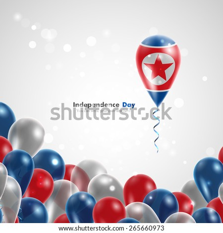 Flag of the Democratic People's Republic on balloon. Celebration and gifts. Ribbon in the colors of the flag are twisted under the balloon. Independence Day. Balloons on the feast of the national day. - stock vector