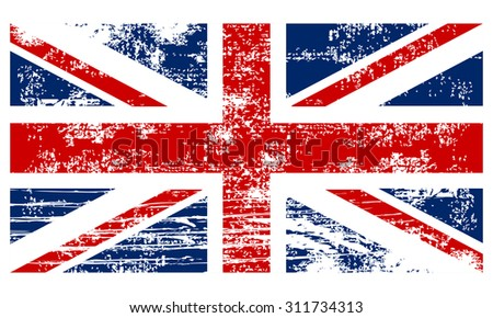 Flag of the Great Britain vintage - stock vector