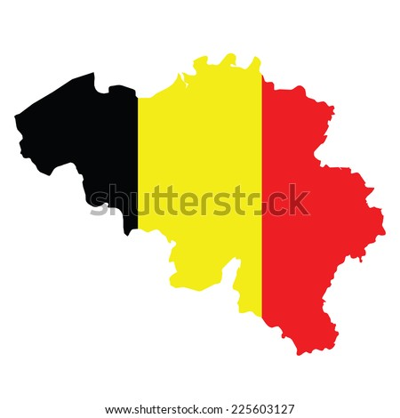 Flag of the Kingdom of Belgium overlaid on outline map isolated on white background  - stock vector