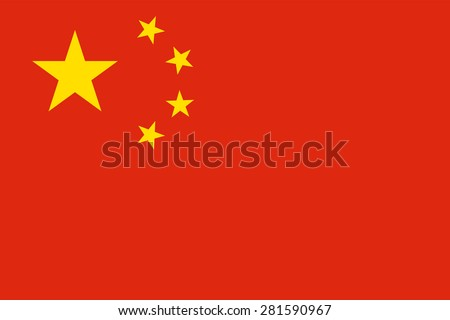 "Flag of the People's Republic of China ""Five-star red flag."" Official chinese state symbol of the country. Yellow stars on a red background. True colors, sizes and shapes. Vector illustration. - stock vector"