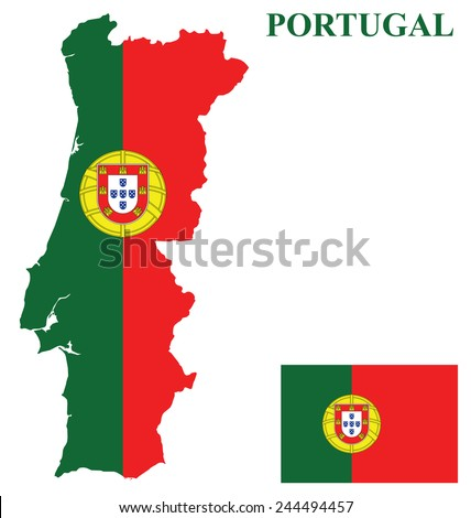 Flag of the Portuguese Republic overlaid on detailed outline country map isolated on white background  - stock vector