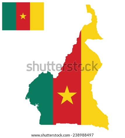 Flag of the Republic of Cameroon overlaid on detailed outline map isolated on white background  - stock vector