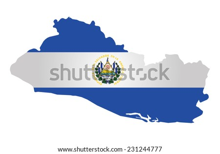Flag of the Republic of El Salvador overlaid on outline map isolated on white background  - stock vector